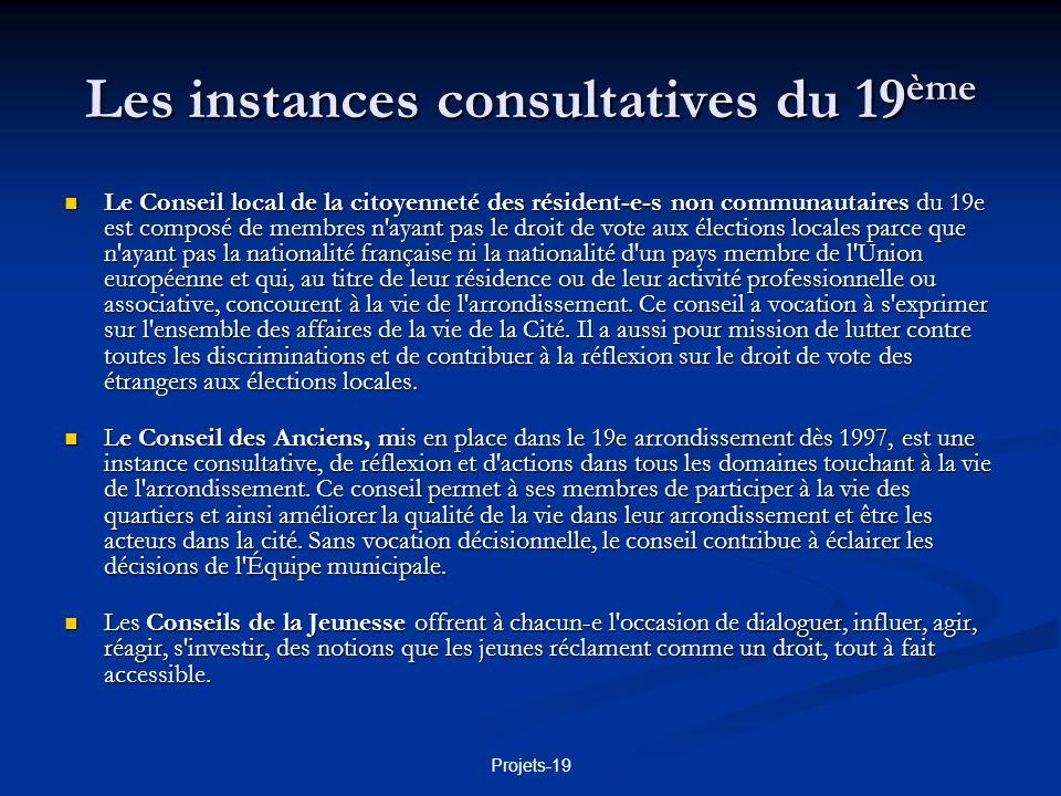 Les instances consultatives du 19ème