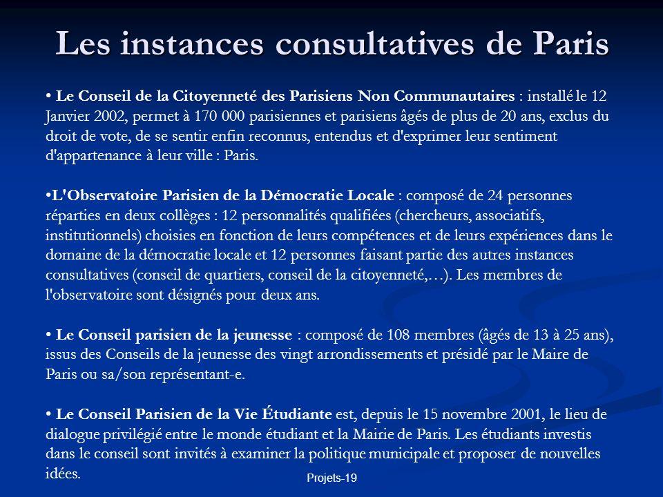 Les instances consultatives de Paris