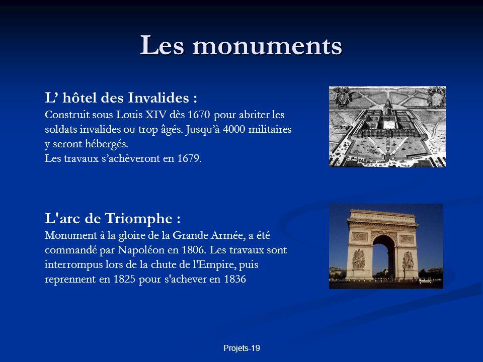 Les monuments L' hôtel des Invalides : L arc de Triomphe :