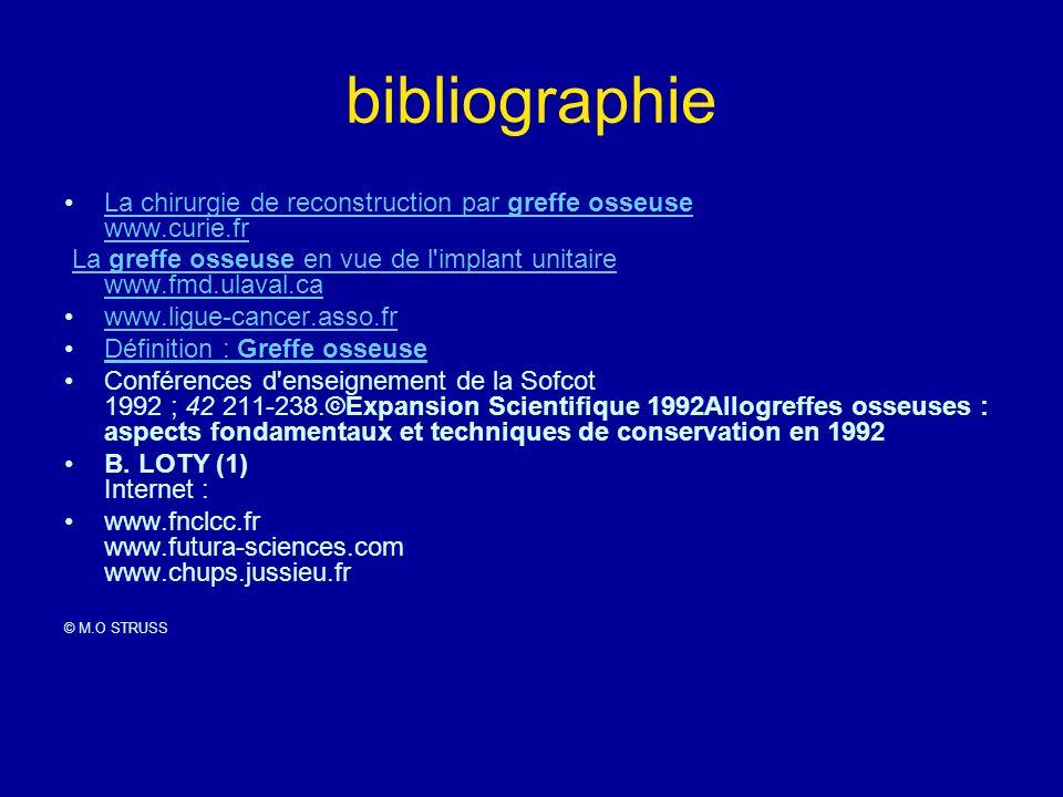 bibliographie La chirurgie de reconstruction par greffe osseuse www.curie.fr. La greffe osseuse en vue de l implant unitaire www.fmd.ulaval.ca.