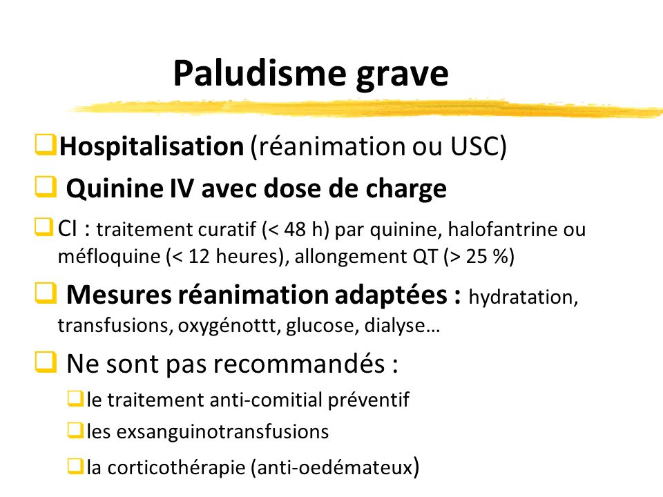 Paludisme grave Hospitalisation (réanimation ou USC)