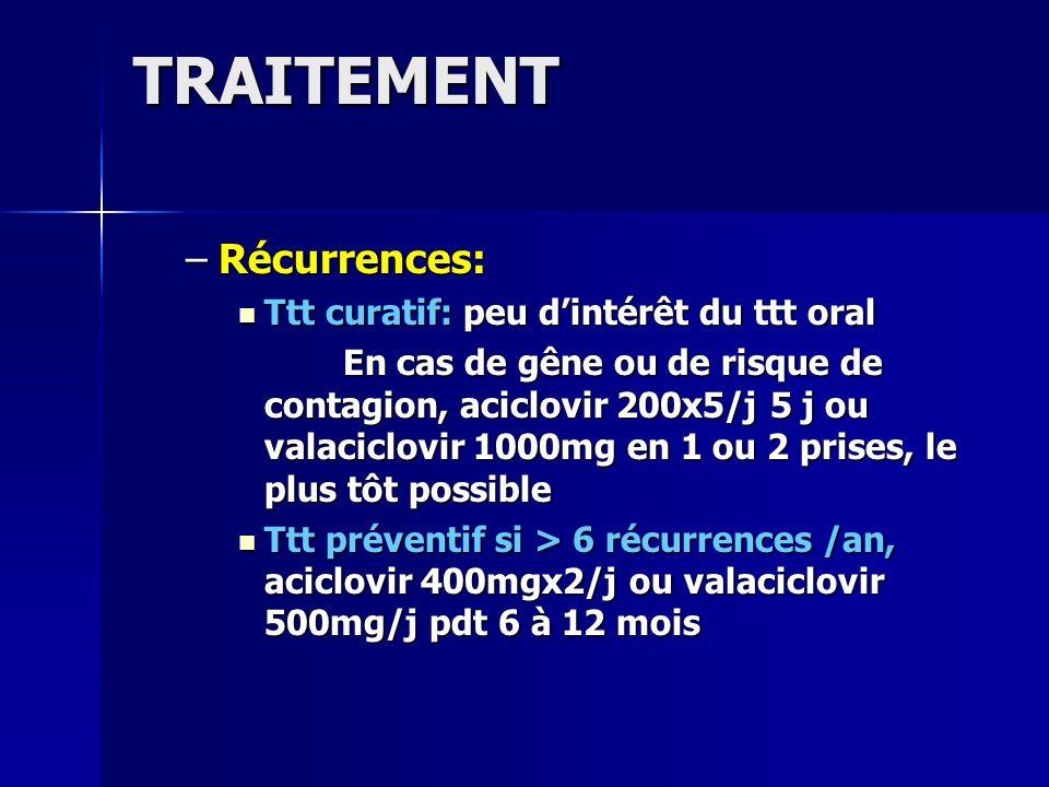 TRAITEMENT Récurrences: Ttt curatif: peu d'intérêt du ttt oral