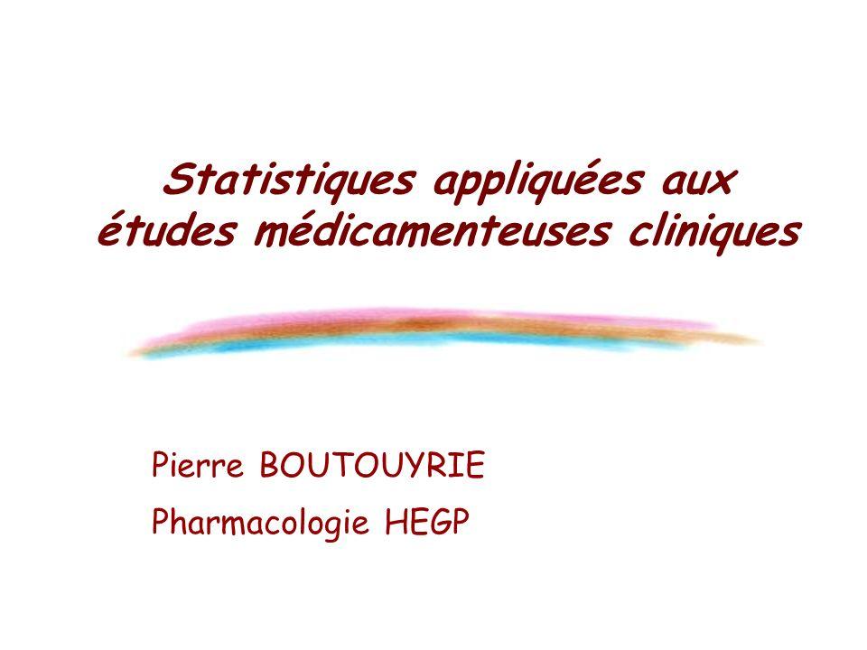 Statistiques appliquées aux études médicamenteuses cliniques