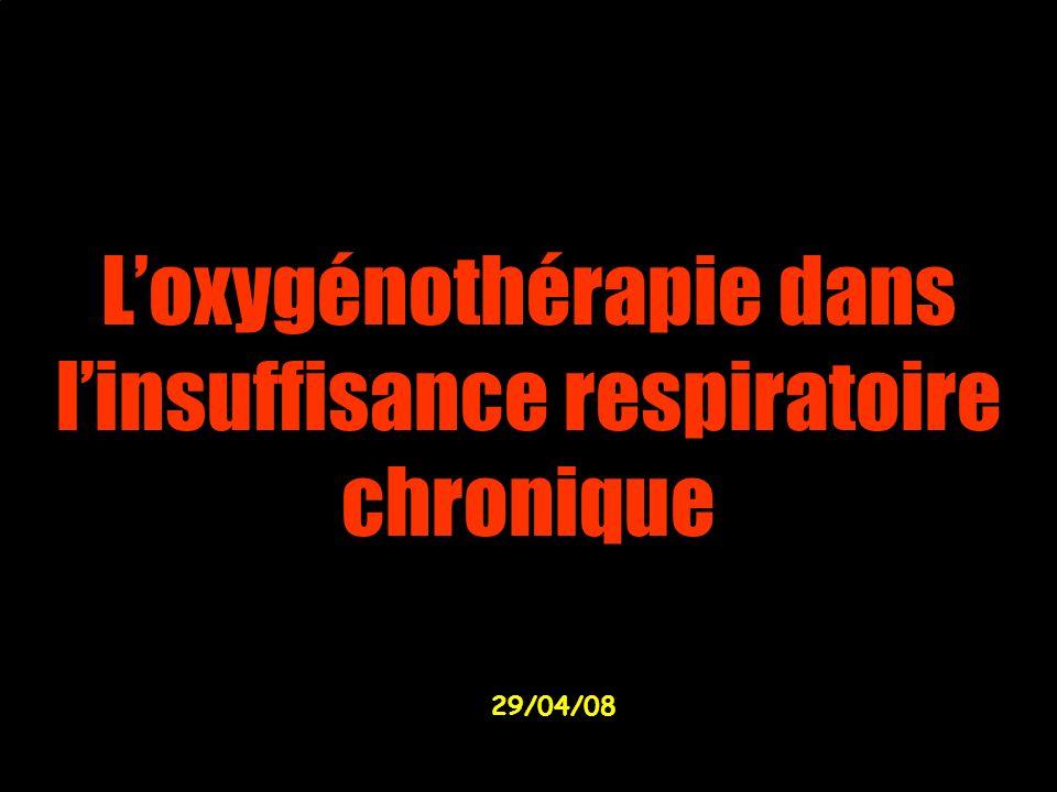 L'oxygénothérapie dans l'insuffisance respiratoire chronique