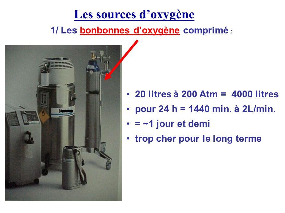 Les sources d'oxygène 1/ Les bonbonnes d'oxygène comprimé :