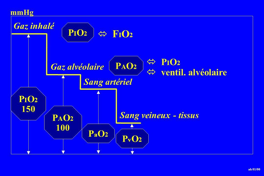 PIO2  FIO2  PIO2 PAO2  ventil. alvéolaire PIO2 PAO2 PaO2 PvO2