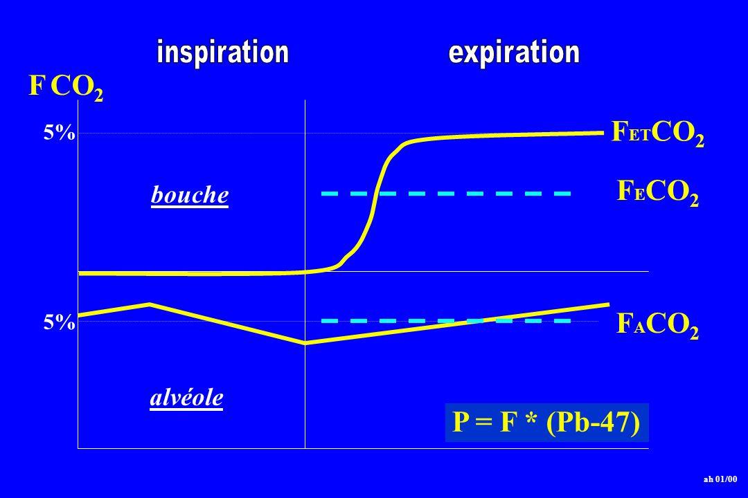 F CO2 FETCO2 FECO2 FACO2 P = F * (Pb-47) bouche alvéole inspiration