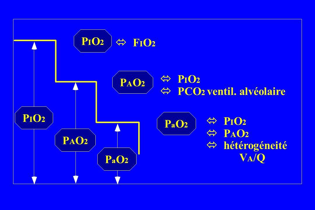 PIO2  FIO2.  PIO2.  PCO2 ventil. alvéolaire. PAO2.  PIO2.  PAO2.  hétérogéneité VA/Q.