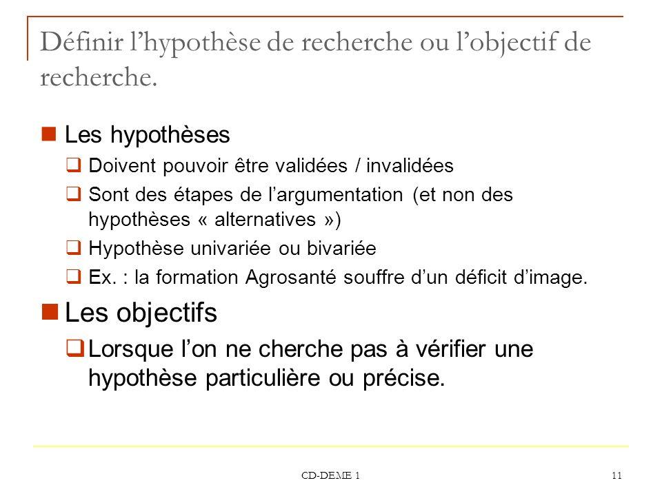Définir l'hypothèse de recherche ou l'objectif de recherche.
