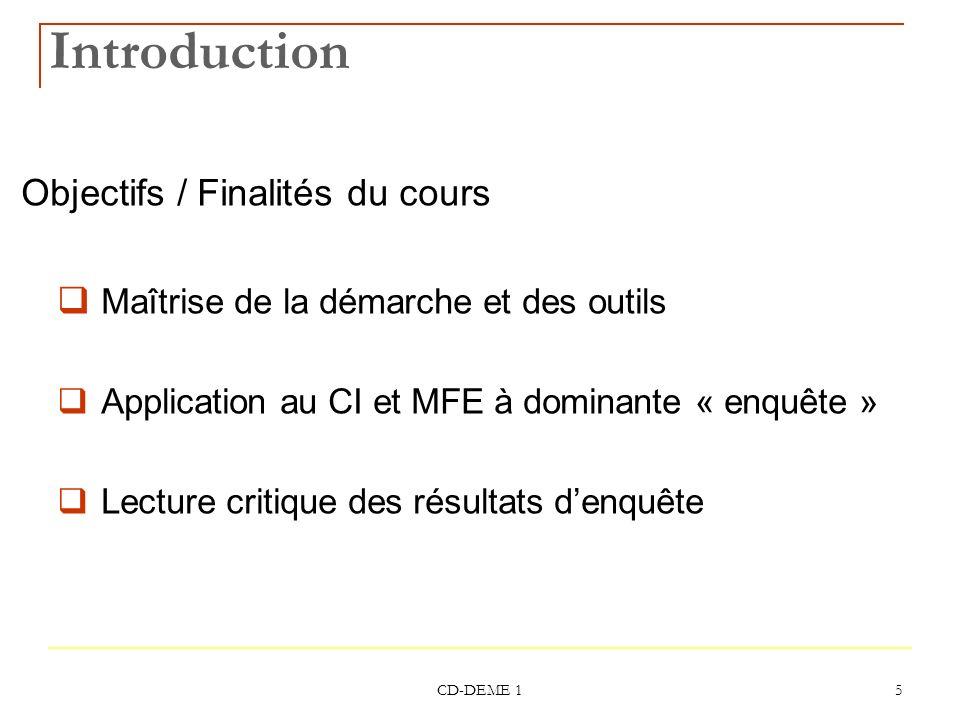 Introduction Objectifs / Finalités du cours