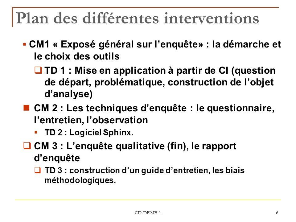 Plan des différentes interventions
