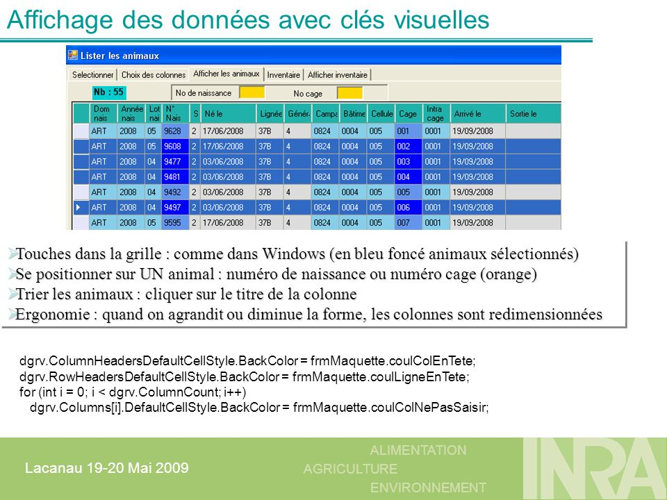 Affichage des données avec clés visuelles