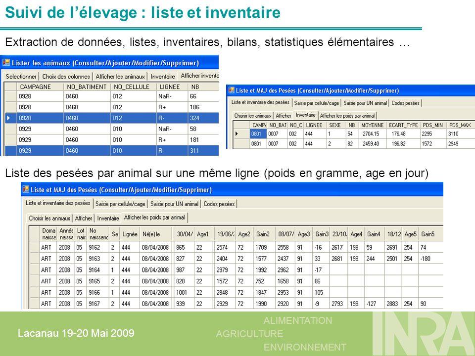 Suivi de l'élevage : liste et inventaire