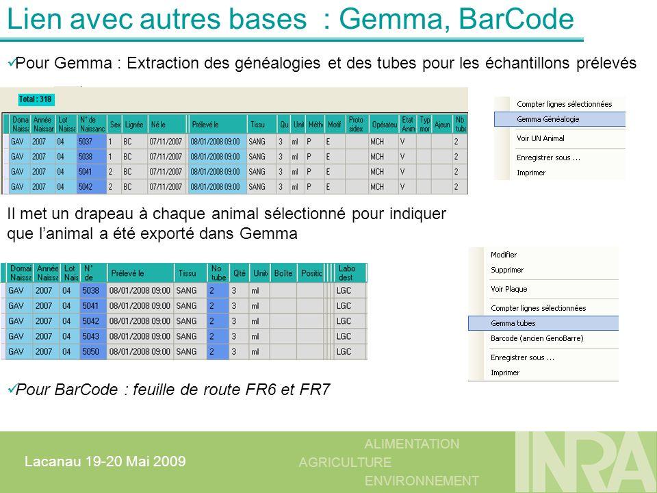 Lien avec autres bases : Gemma, BarCode