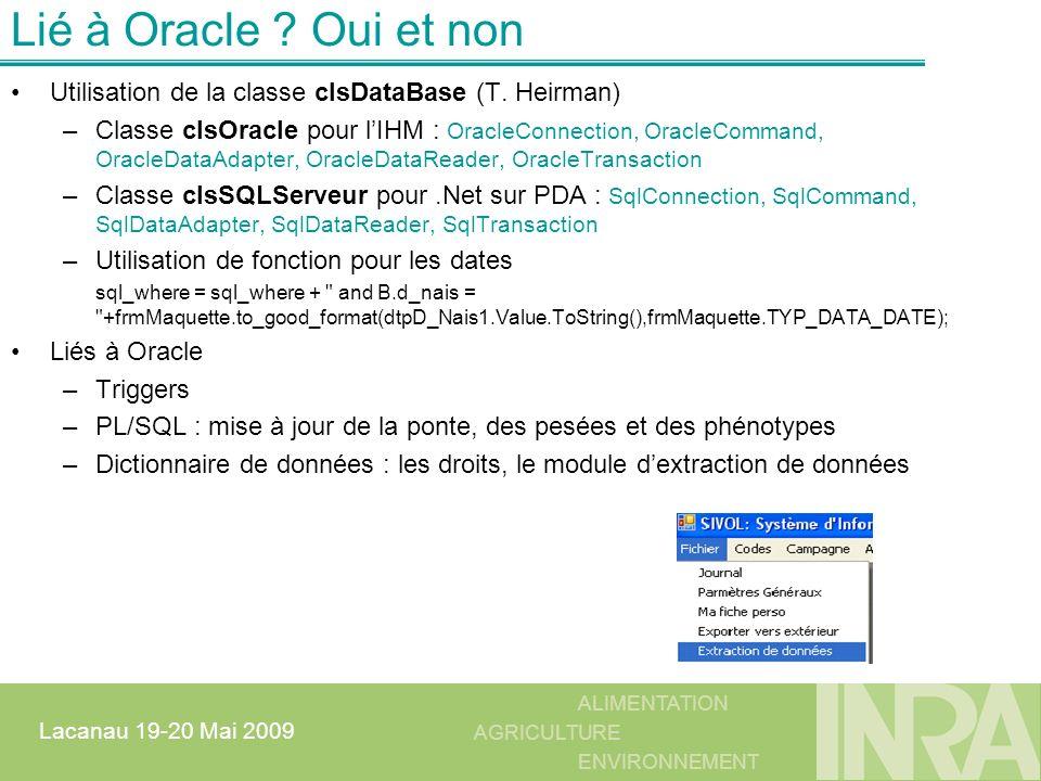 Lié à Oracle Oui et non Utilisation de la classe clsDataBase (T. Heirman)