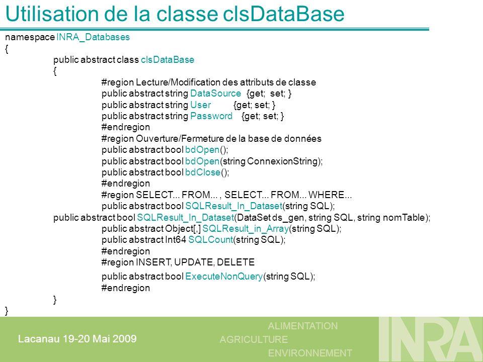 Utilisation de la classe clsDataBase