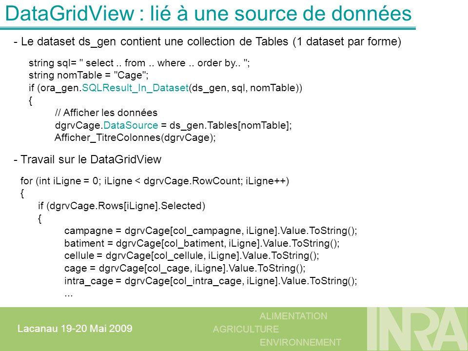 DataGridView : lié à une source de données