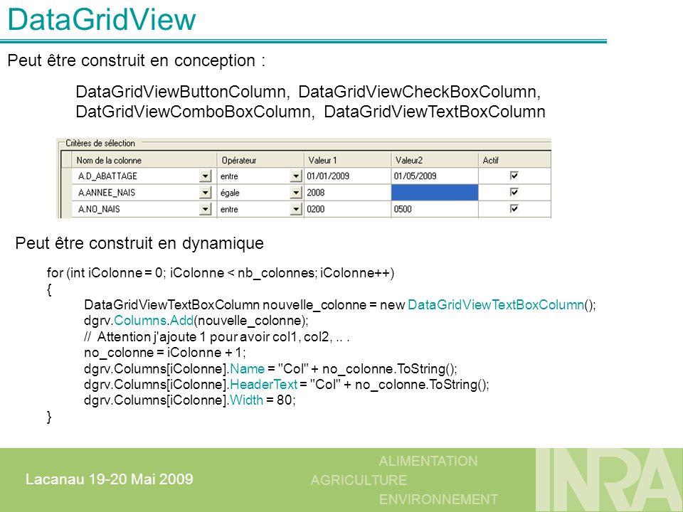 DataGridView Peut être construit en conception :