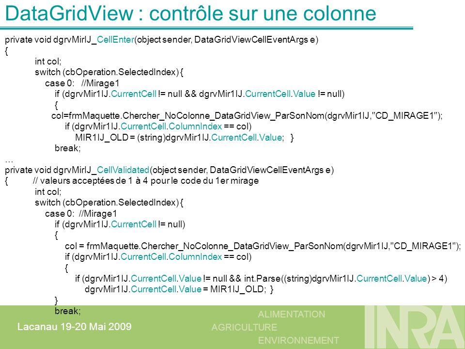 DataGridView : contrôle sur une colonne