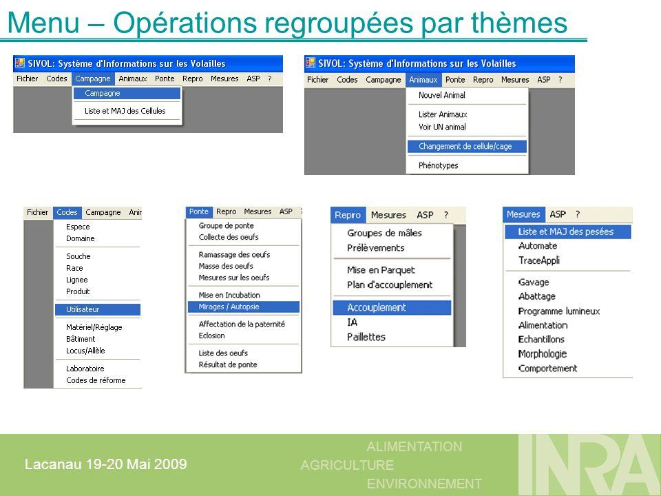 Menu – Opérations regroupées par thèmes