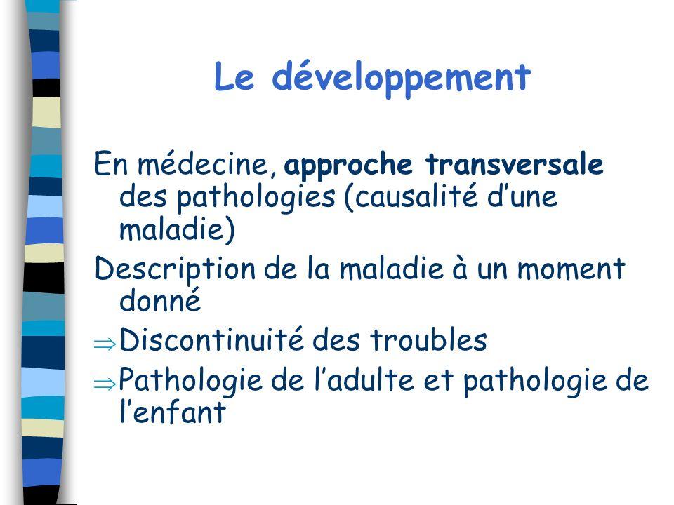 Le développement En médecine, approche transversale des pathologies (causalité d'une maladie) Description de la maladie à un moment donné.