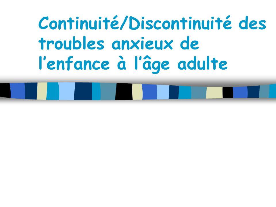 Continuité/Discontinuité des troubles anxieux de l'enfance à l'âge adulte