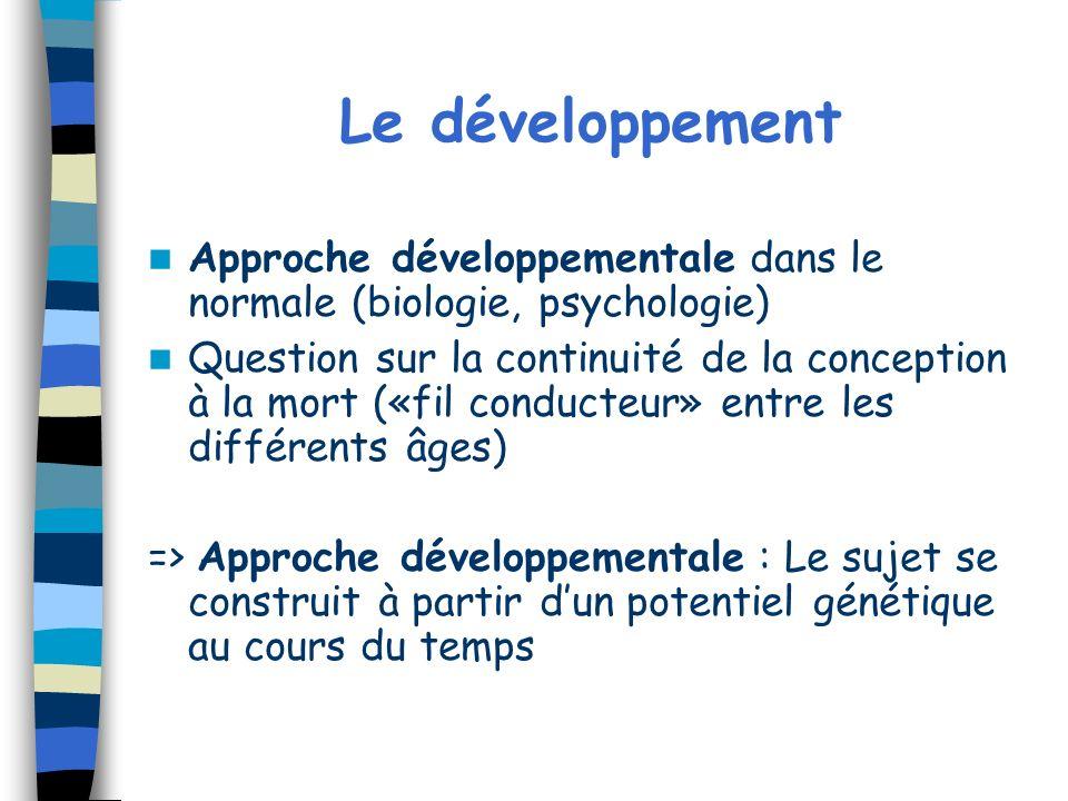 Le développement Approche développementale dans le normale (biologie, psychologie)