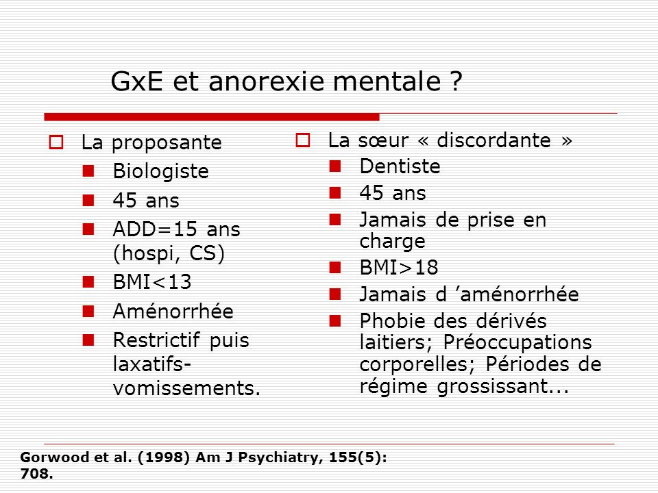 GxE et anorexie mentale