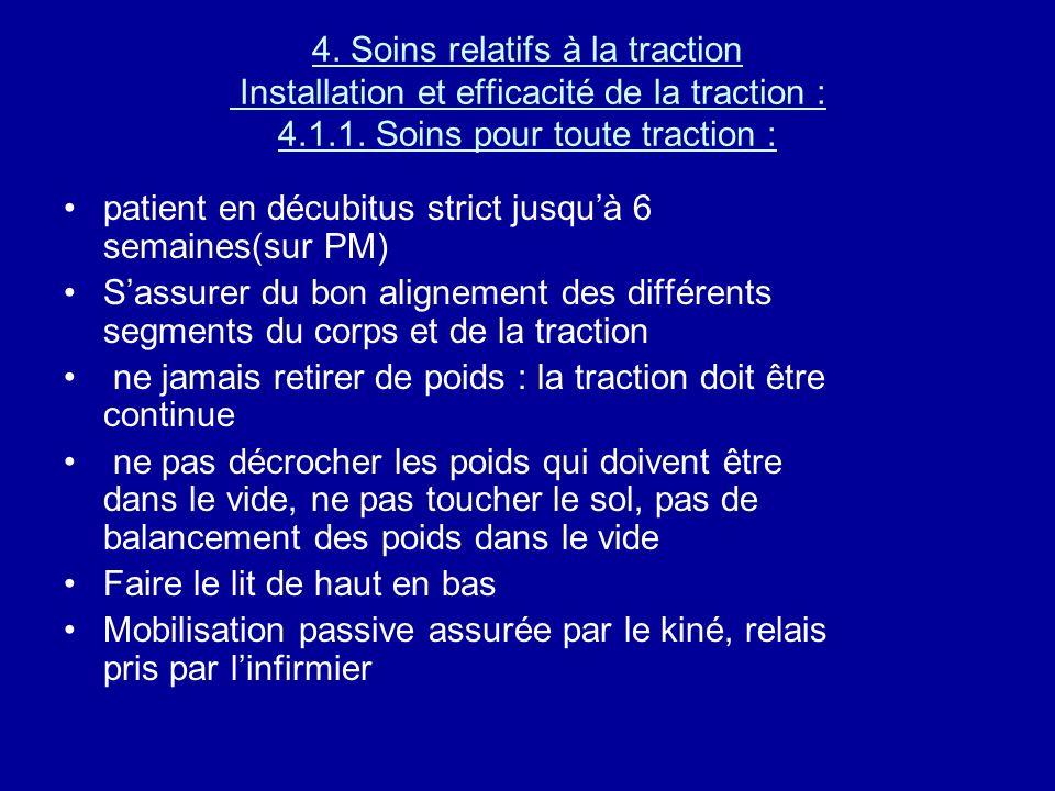 4. Soins relatifs à la traction Installation et efficacité de la traction : 4.1.1. Soins pour toute traction :