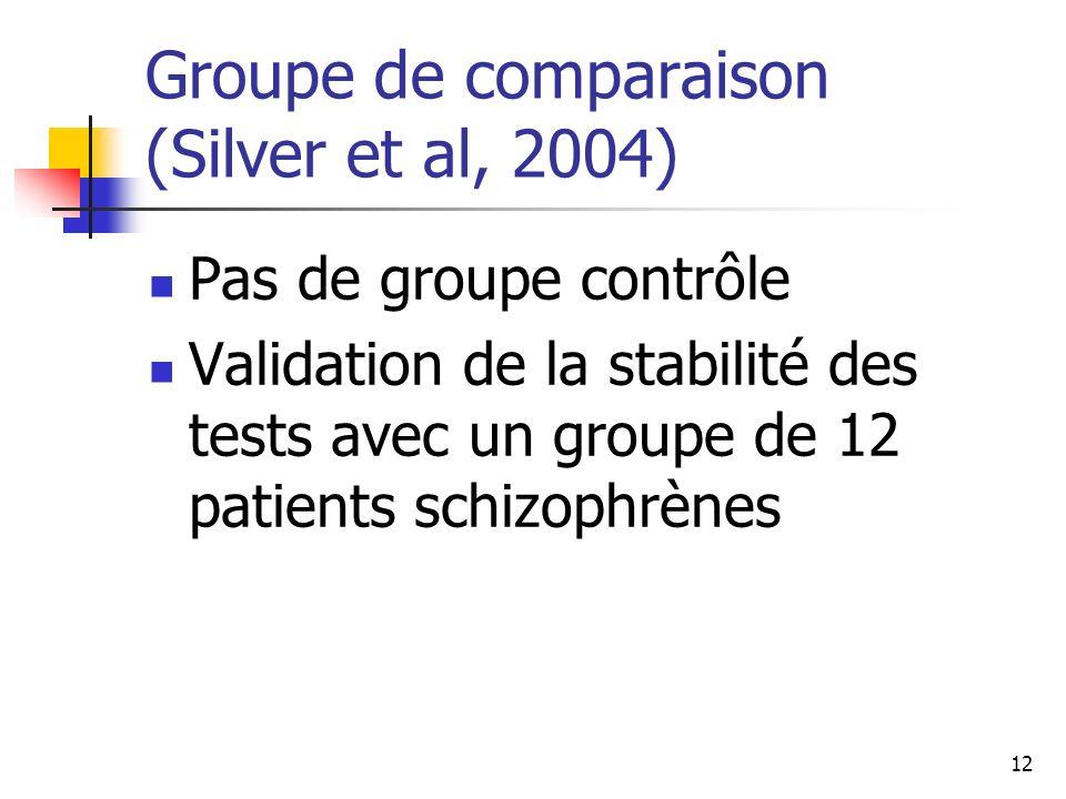 Groupe de comparaison (Silver et al, 2004)