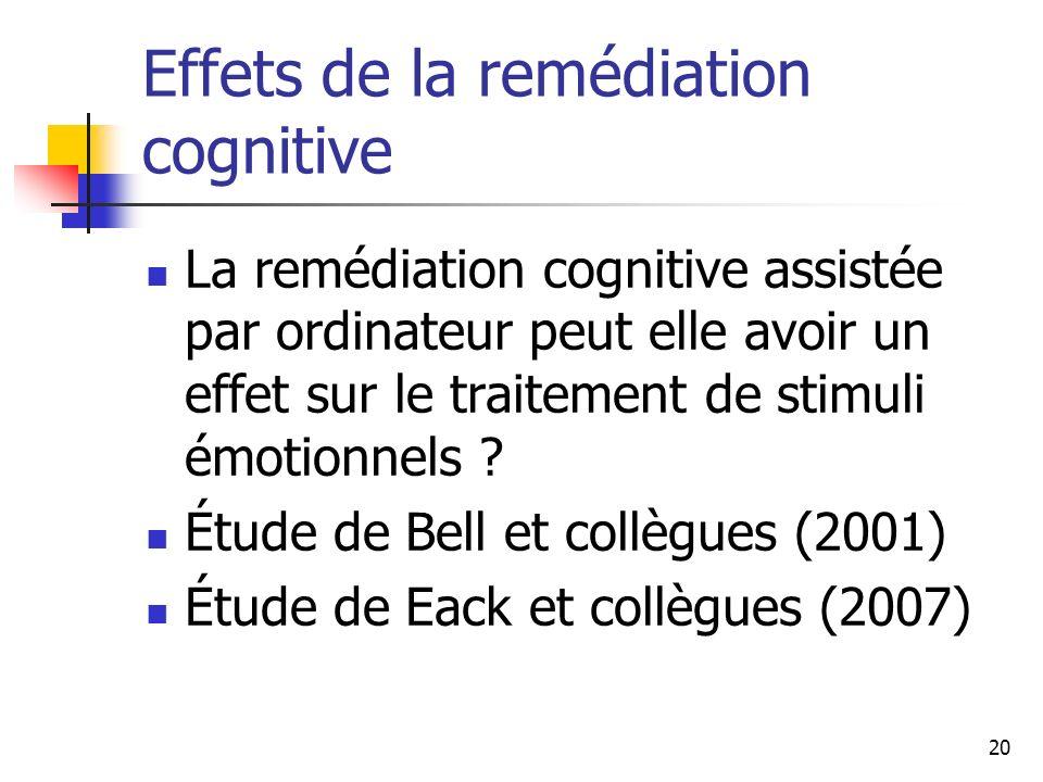 Effets de la remédiation cognitive
