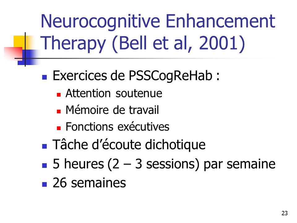 Neurocognitive Enhancement Therapy (Bell et al, 2001)