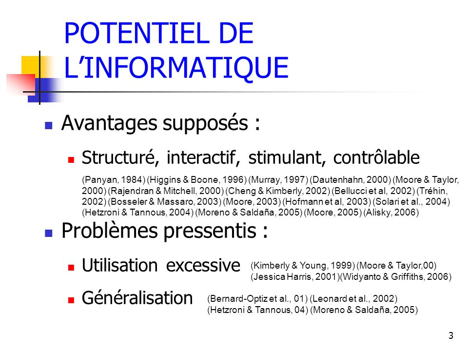 POTENTIEL DE L'INFORMATIQUE