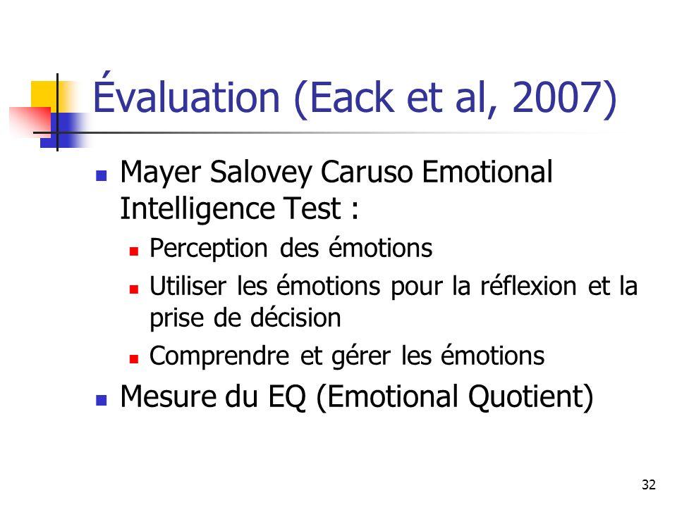 Évaluation (Eack et al, 2007)