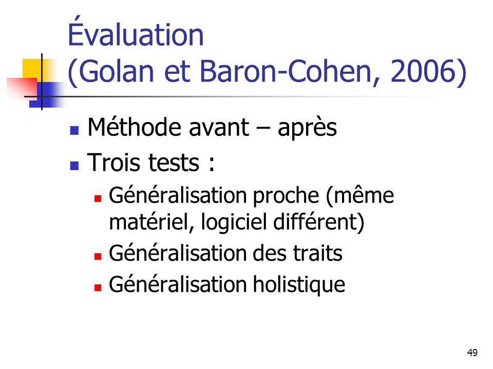 Évaluation (Golan et Baron-Cohen, 2006)