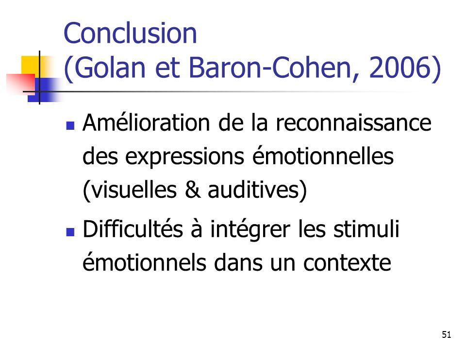 Conclusion (Golan et Baron-Cohen, 2006)