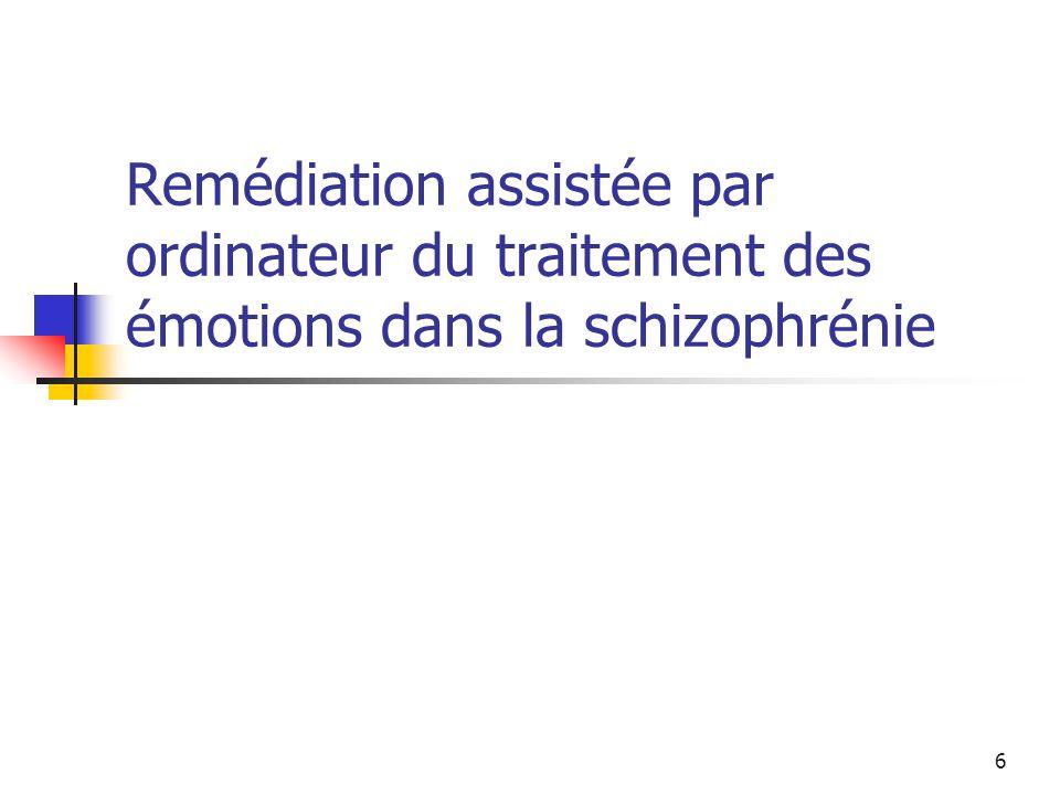 Remédiation assistée par ordinateur du traitement des émotions dans la schizophrénie