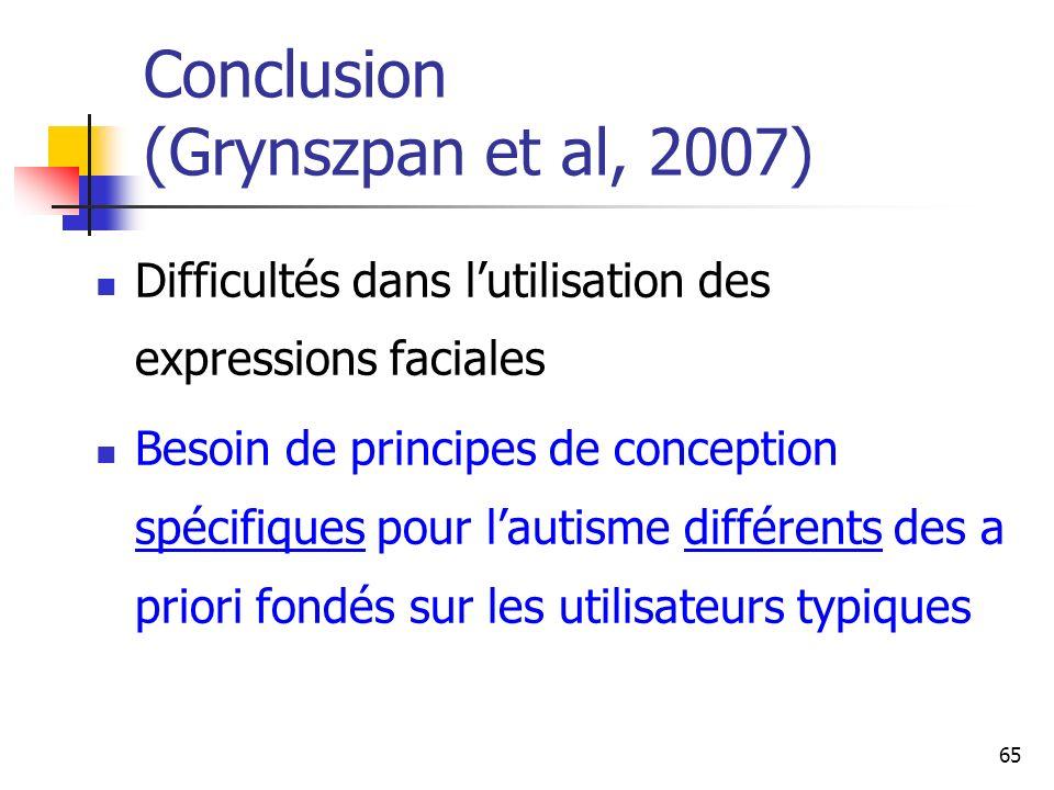 Conclusion (Grynszpan et al, 2007)