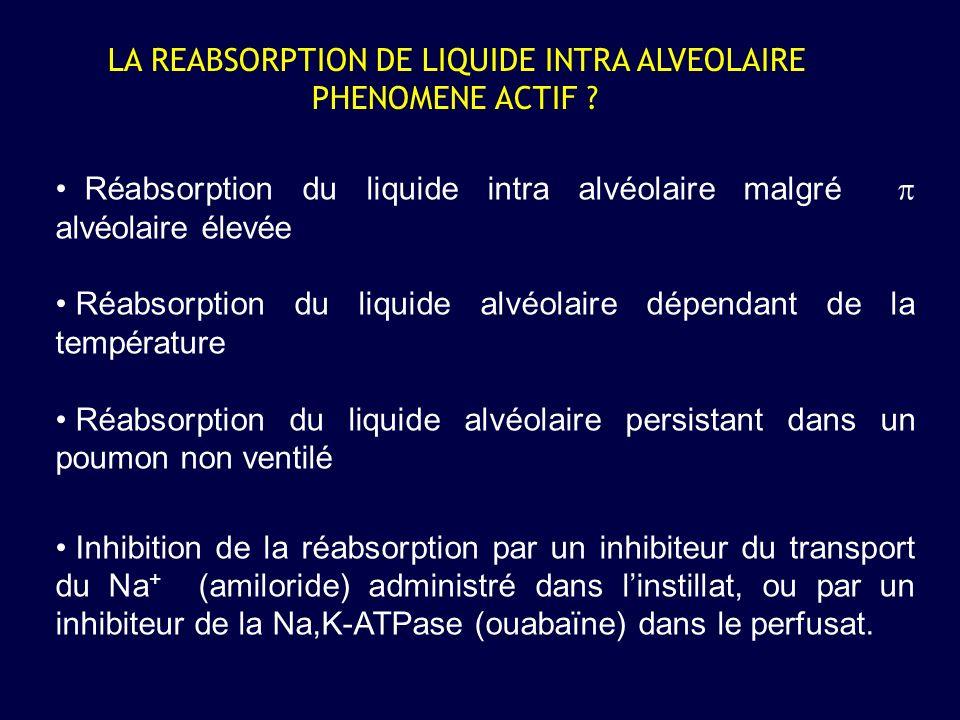 LA REABSORPTION DE LIQUIDE INTRA ALVEOLAIRE