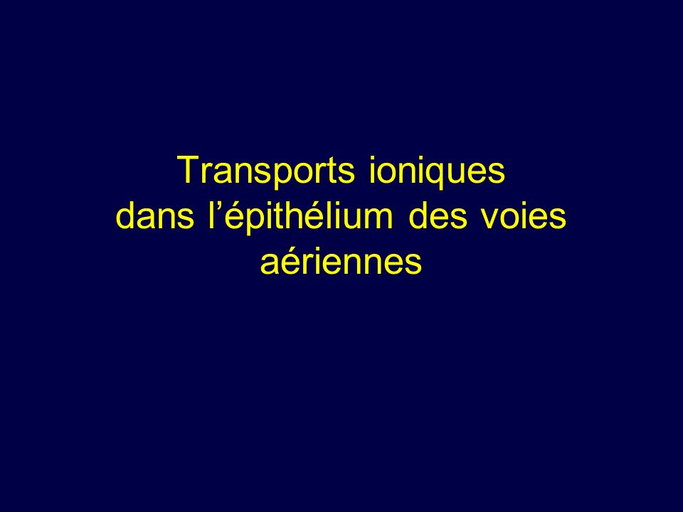 Transports ioniques dans l'épithélium des voies aériennes