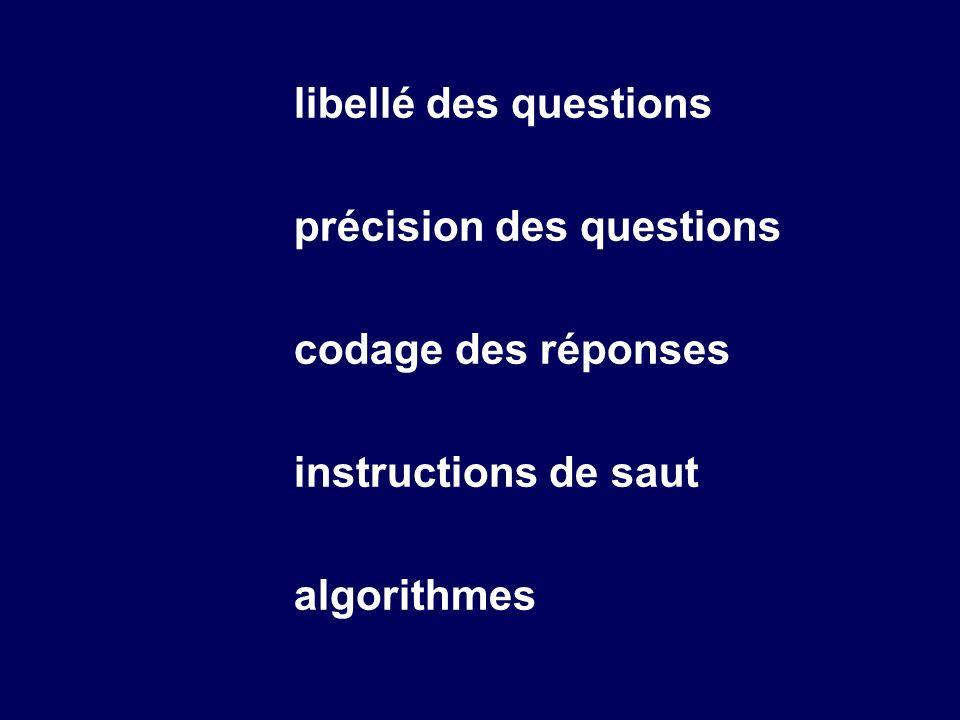 libellé des questions précision des questions codage des réponses instructions de saut algorithmes