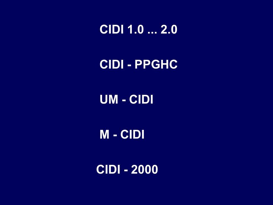 CIDI 1.0 ... 2.0 CIDI - PPGHC UM - CIDI M - CIDI CIDI - 2000