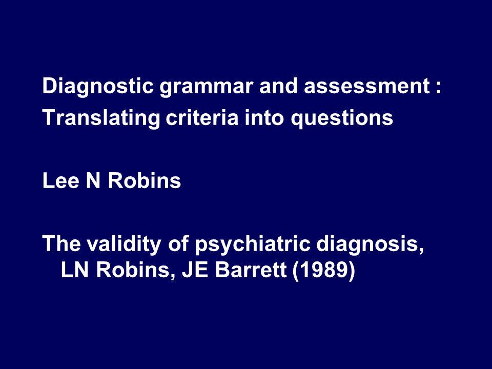 Diagnostic grammar and assessment :