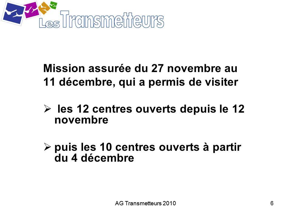 Mission assurée du 27 novembre au 11 décembre, qui a permis de visiter