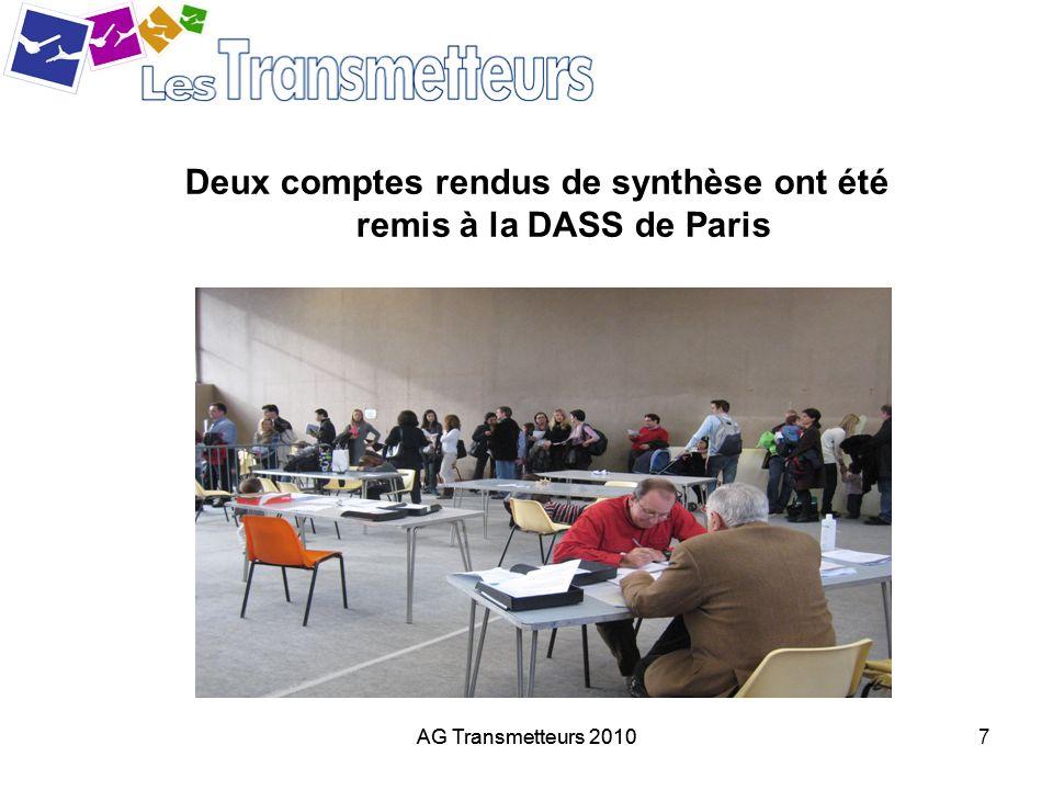 Deux comptes rendus de synthèse ont été remis à la DASS de Paris