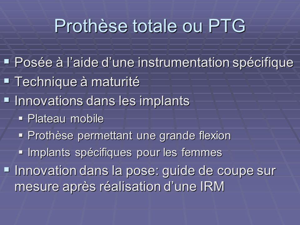Prothèse totale ou PTG Posée à l'aide d'une instrumentation spécifique