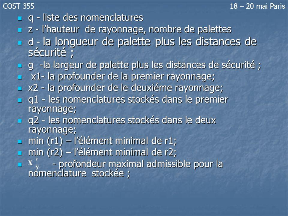 q - liste des nomenclatures