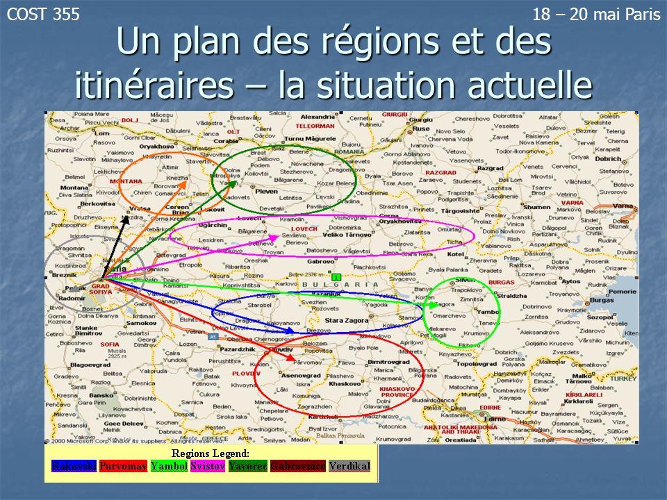 Un plan des régions et des itinéraires – la situation actuelle
