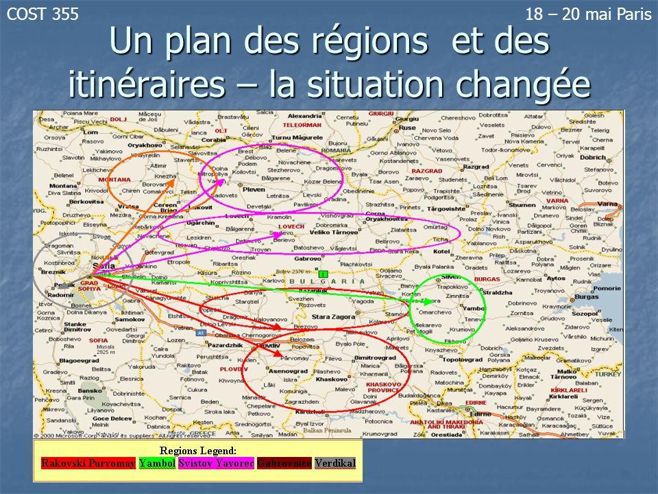 Un plan des régions et des itinéraires – la situation changée