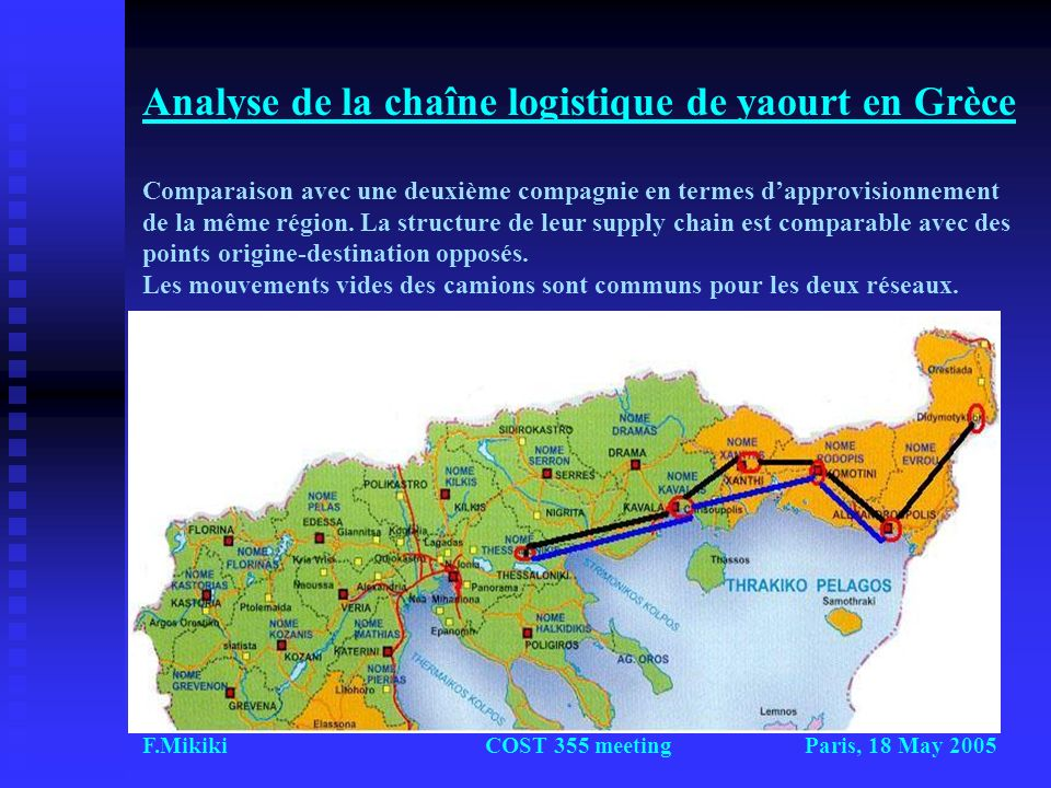 Analyse de la chaîne logistique de yaourt en Grèce Comparaison avec une deuxième compagnie en termes d'approvisionnement de la même région. La structure de leur supply chain est comparable avec des points origine-destination opposés. Les mouvements vides des camions sont communs pour les deux réseaux.